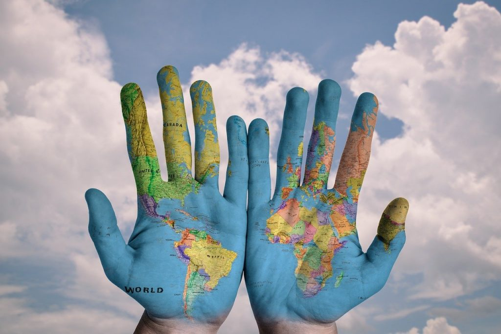 hands, world, map